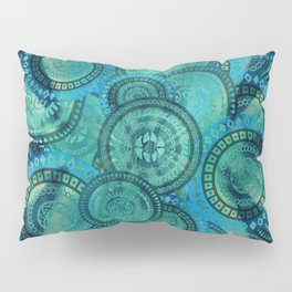 Gentle Teal and blue Circular Tribal  pattern Pillow Sham