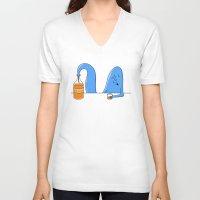 whiskey V-neck T-shirts featuring whiskey genie by gazonula
