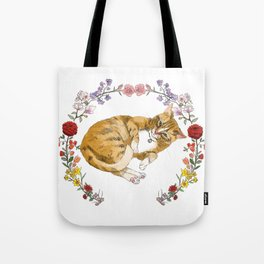 Bon the Cat in Floral Wreath Tote Bag