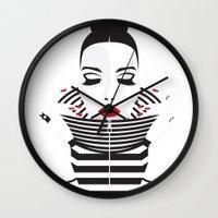 striped Wall Clocks featuring striped by Yordanka Poleganova