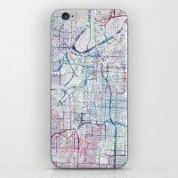 kansas city iPhone & iPod Skins featuring Kansas city map by MapMapMaps.Watercolors