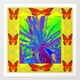 MODERN BLUE CACTUS & MONARCH BUTTERFLIES Art Print