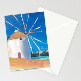 Mykonos Greece Windmill, Sea and Little Venice Stationery Cards