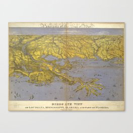 Vintage Pictorial Map of The Gulf (1861) Canvas Print