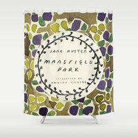 jane austen Shower Curtains featuring Remember Jane Austen (2) - Mansfield Park by MW. [by Mathius Wilder]