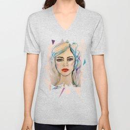 Girl Portrait Unisex V-Neck