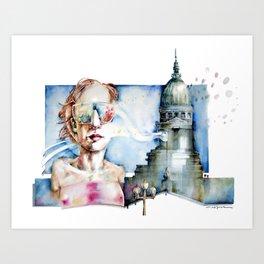 Portrait with Buildings. Art Print