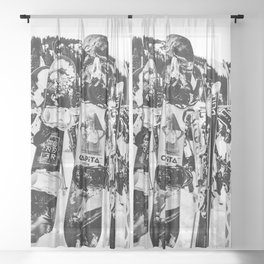 Snowboard Season in Black and White Sheer Curtain