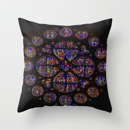 Stained Glass Rose Window 1 Throw Pillow