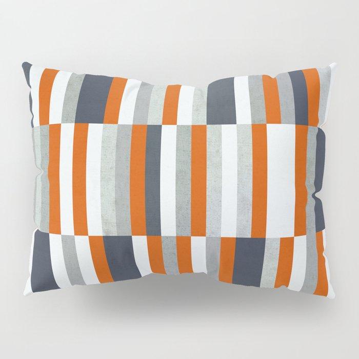 Orange, Navy Blue, Gray / Grey Stripes, Abstract Nautical Maritime Design by Pillow Sham