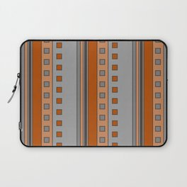Squares and Stripes in Terracotta and Gray Laptop Sleeve