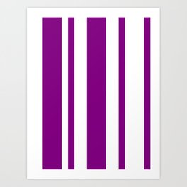 Mixed Vertical Stripes - White and Purple Violet Art Print