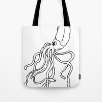 squid Tote Bags featuring Squid by Travelers Checks