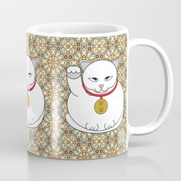 Paws Up For Lucky White Cat Coffee Mug