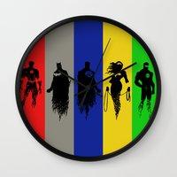 justice league Wall Clocks featuring Justice Silhouettes by iankingart