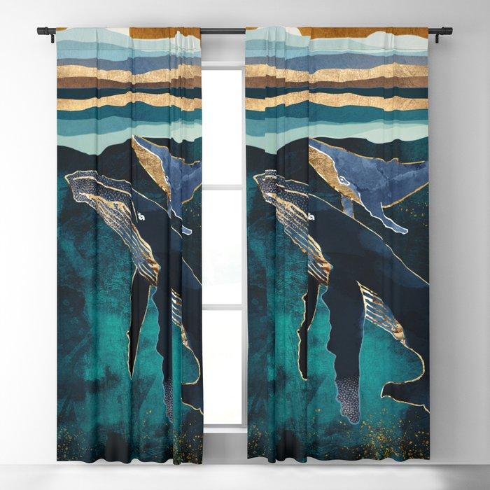 Moonlit Whales Blackout Curtain