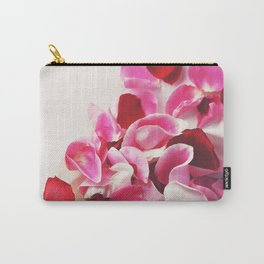 Scattered Pink + Red Rose Petals Carry-All Pouch