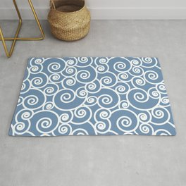 Abstract Dusty Denim Blue and White Waves Pattern Rug