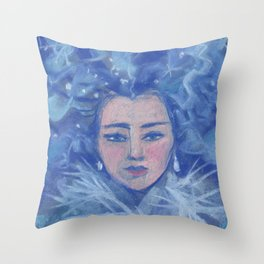 Snowgirl, Christmas &  New Year Throw Pillow