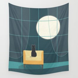 Cat and the Moon II Wall Tapestry