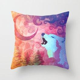 Howl @ The Moon Throw Pillow