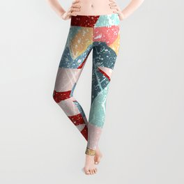 Abstract Splash Geometric Mountains in Clouds Design Leggings