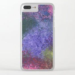 Abstract painting of sponged colorful spots Clear iPhone Case