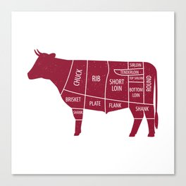 Beef Chart Cuts BBQ Barbecue Grill Canvas Print