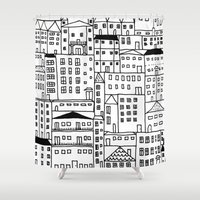 cityscape Shower Curtains featuring cityscape by Anna Grunduls