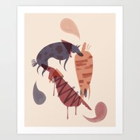 dogs Art Prints featuring Dogs by Roman Muradov