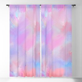 Artistic coral pink lavender watercolor brushstrokes Blackout Curtain