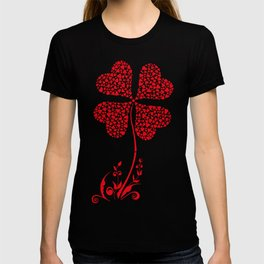 Lucky Four Leaf Clover Heart Valentine Flower T-shirt