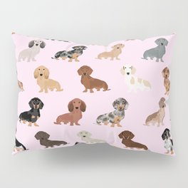 Dachshund dog breed pet pattern doxie coats dapple merle red black and tan Pillow Sham