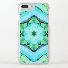 Blue Kaleidoscope Clear iPhone Case
