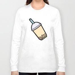 Bubble Tea Pattern in Red Long Sleeve T-shirt