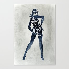 "Va-Va-Voom ""Jane"" Motorcycle Pin Up Girl Canvas Print"
