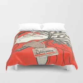 Christmas Pudding And Vintage Santa Vector Duvet Cover