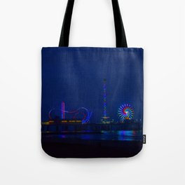 Galveston Pleasure Pier At Night Tote Bag
