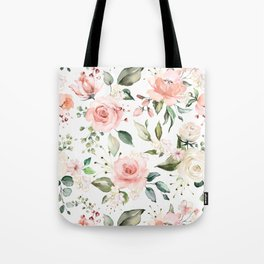 Sunny Floral Pastel Pink Watercolor Flower Pattern Tote Bag