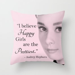 Happy Girls - Pink - With Audrey Throw Pillow