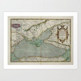 Vintage Map - Ortelius: Theatrum Orbis Terrarum (1606) - Crimea and the Black Sea Art Print