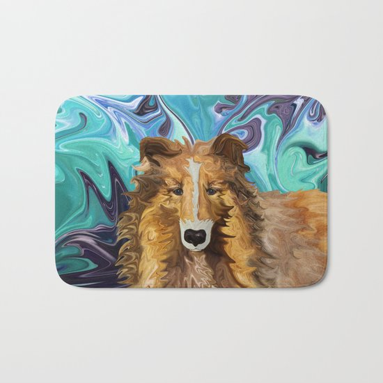 The Inquisitive Collie of the Psychedelic Dog Parade Bath Mat