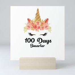 Unicorn 100 Days Smarter Flower Roses Mini Art Print
