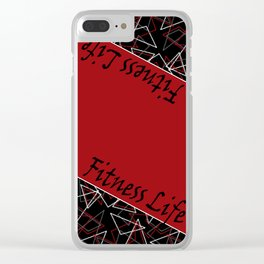 The fitness club . Red black creative pattern . Clear iPhone Case