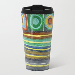 Symmetrical Bordered Stripes Travel Mug