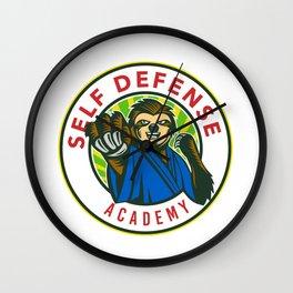 Sloth Karate Self Defense Badge Wall Clock