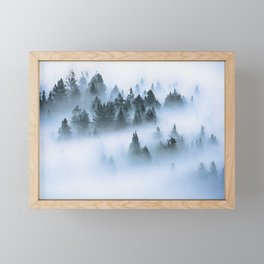 Foggy forest watercolor painting #12 Framed Mini Art Print