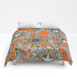 cirque fleur orange stone star Comforters