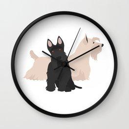 Scottish Terrier Black White Hunting Dog Wall Clock