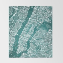Turquoise Teal Wall Art Showing Manhattan New York City, Brooklyn and New Jersey Throw Blanket